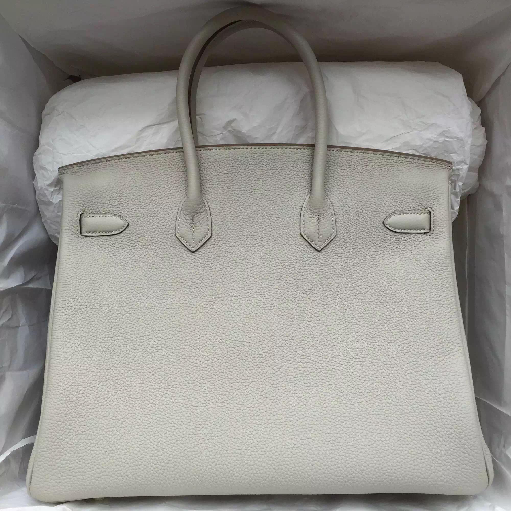 Cheap Hermes Birkin 35CM Pearl Grey Togo Leather Silver Hardware Women's Handbag
