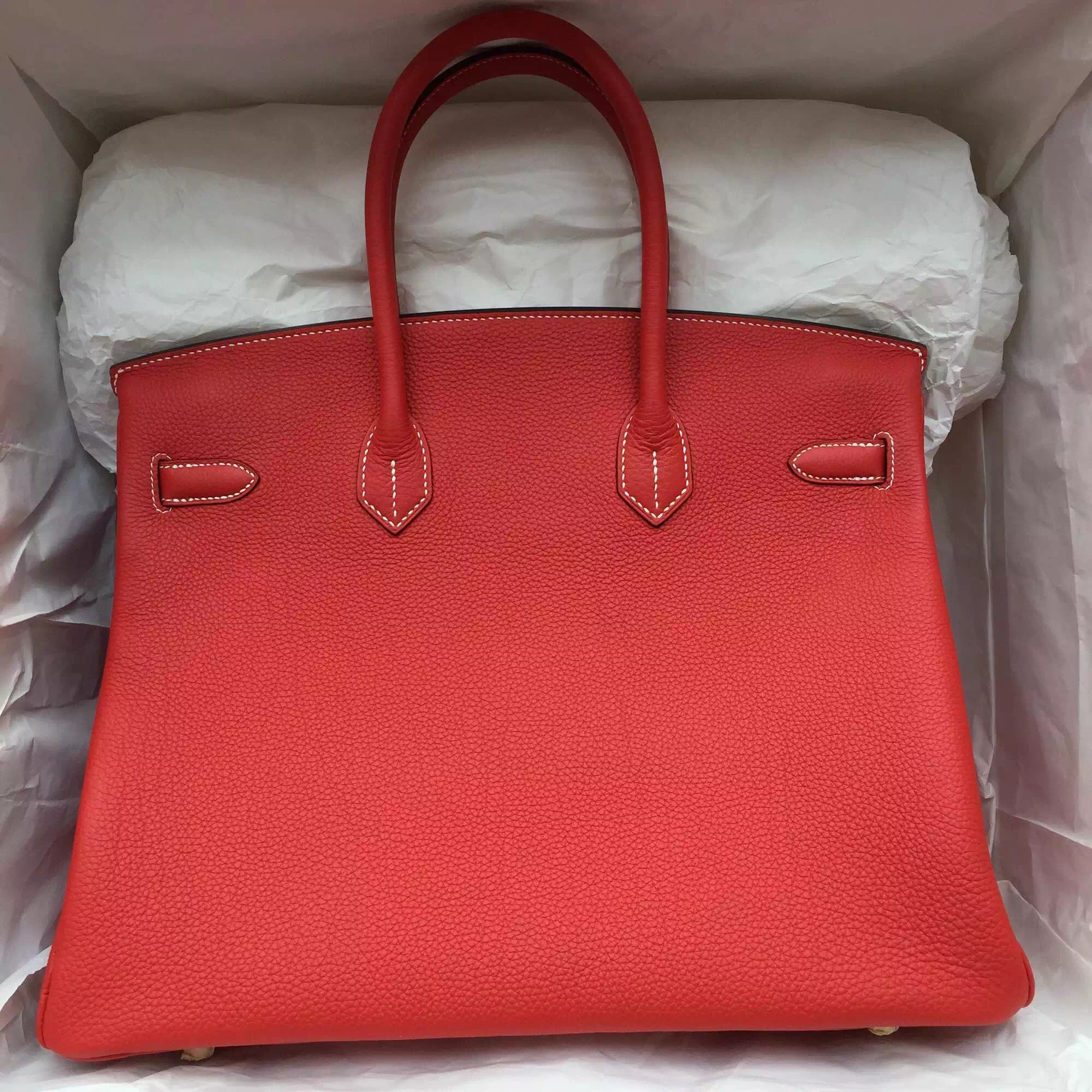 Fashion 35CM Hermes Birkin Bag D5 Geranium Color Togo Leather with White Thread