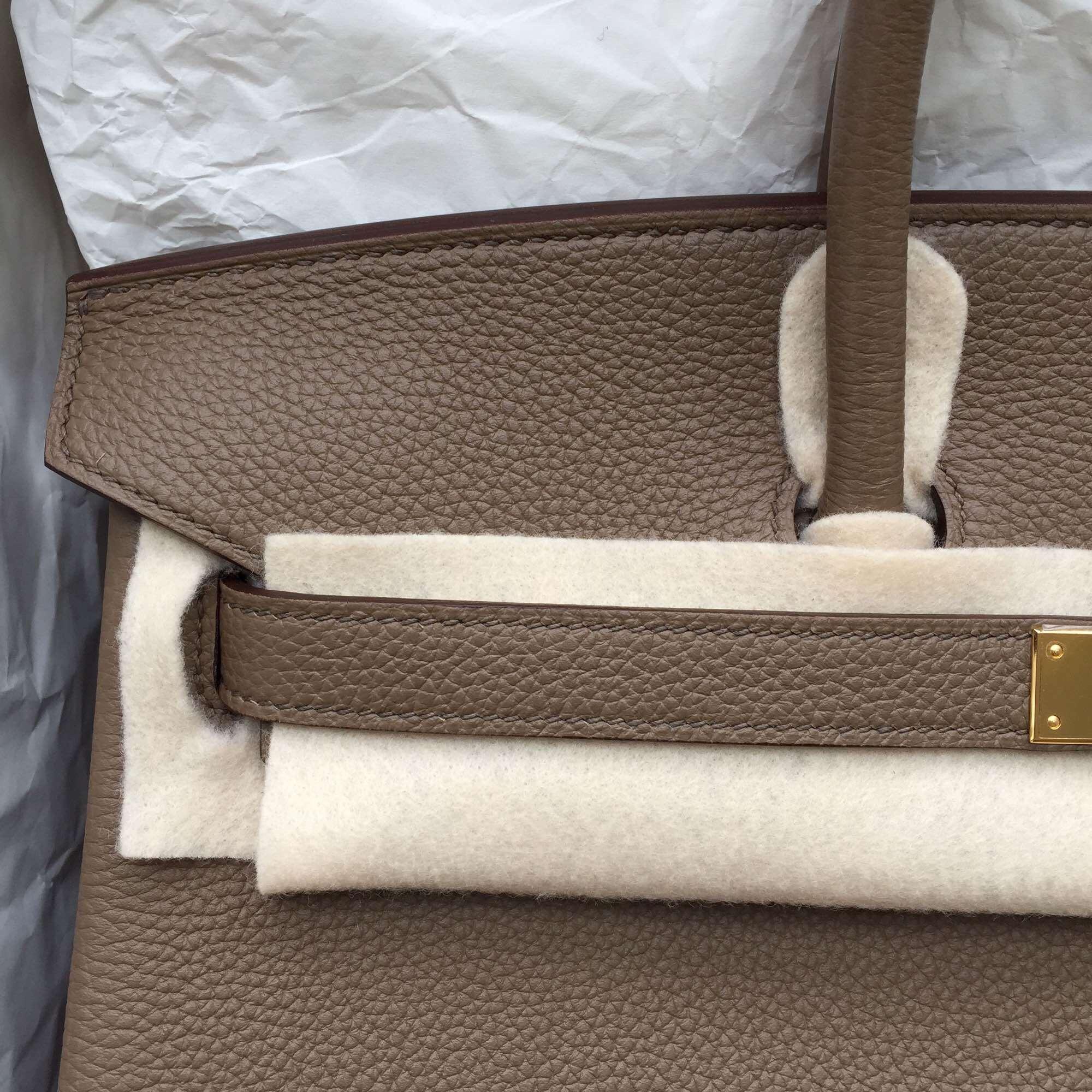 Cheap C18 Etoupe Grey Togo Leather Hermes Birkin Bag Women's Handbag 35CM