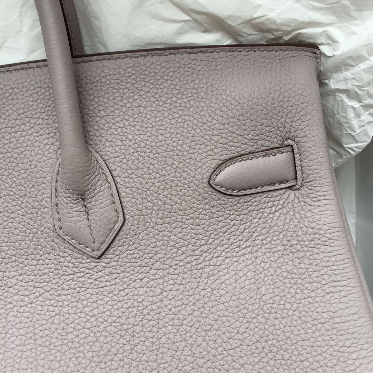 Hand Stitching Hermes Birkin Bag Light Coffee Top Togo Calfskin Leather Women's Tote Bag 35CM