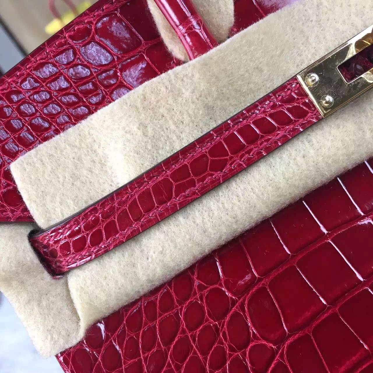 High Quality Hermes HCP Crocodile Skin Leather Birkin Bag25cm in Chinese Red