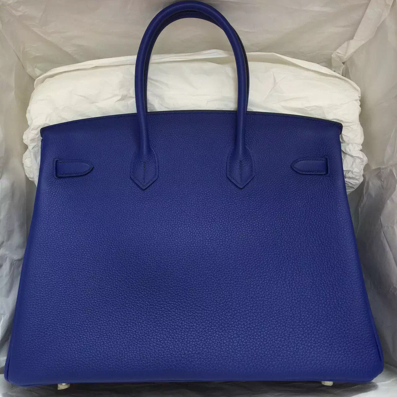Discount Hermes Togo Leather Birkin Bag in 7T Blue Electric Silver & Gold Hardware 35CM