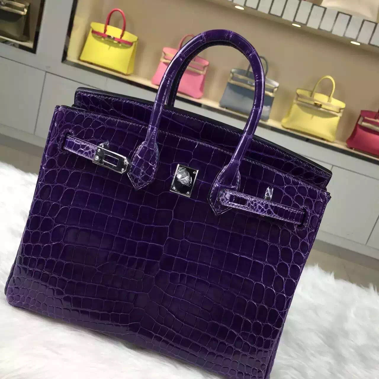Luxury Ladies' Handbag Hermes 9G Violet HCP Crocodile Shiny Leather Birkin25CM