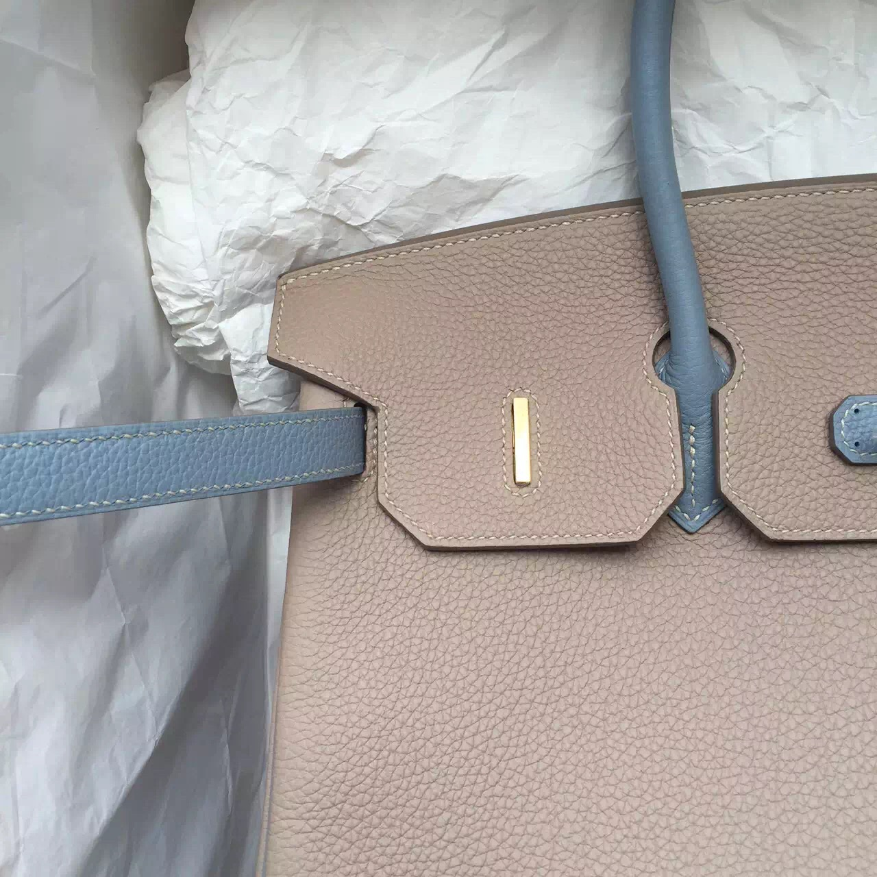 Hand Stitching Gris Tourterelle/J7 Blue Lin Togo Calfskin Leather Hermes Birkin Bag 35CM