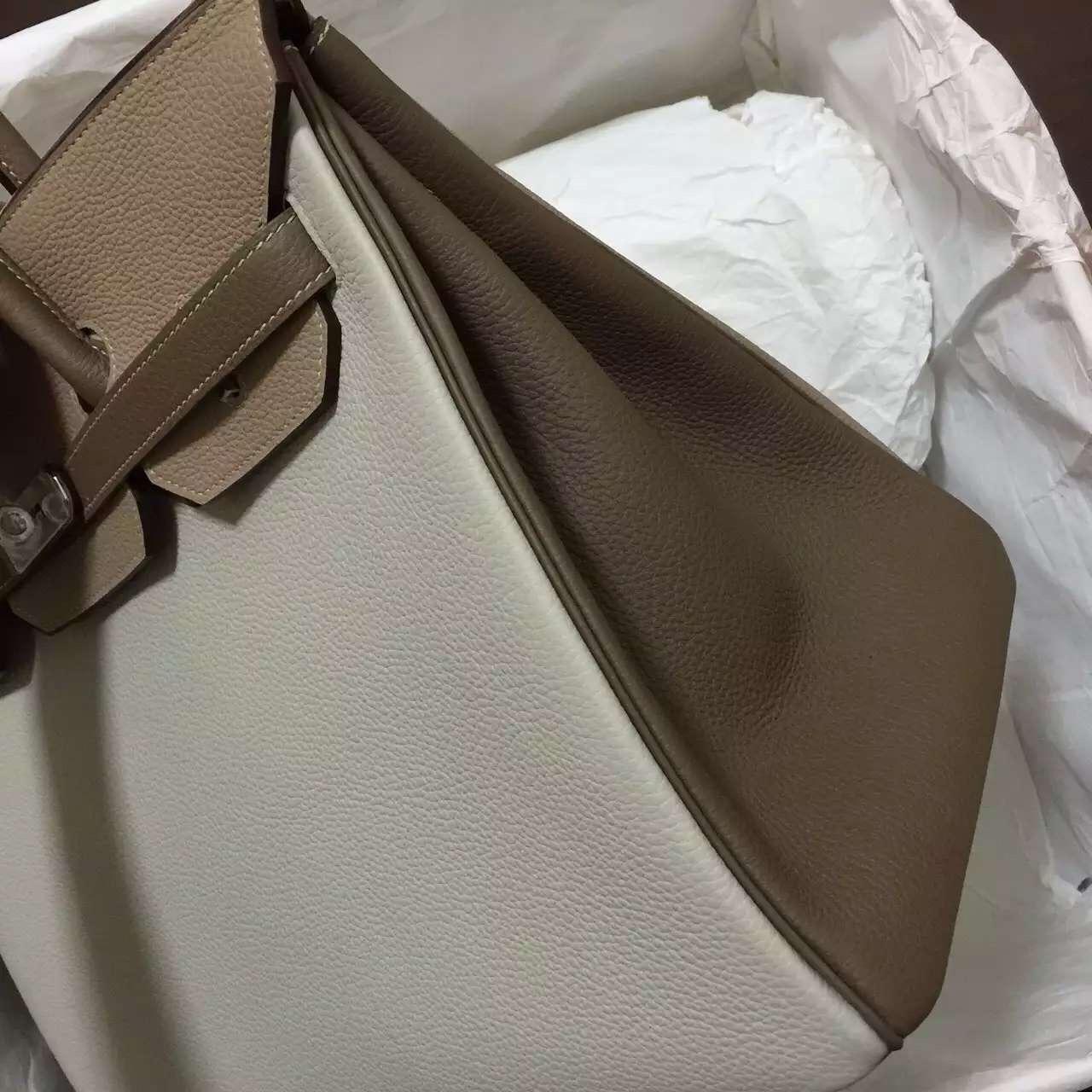 Wholesale Hermes Birkin 35CM Colorblock Togo Leather Women's Tote Silver Hardware