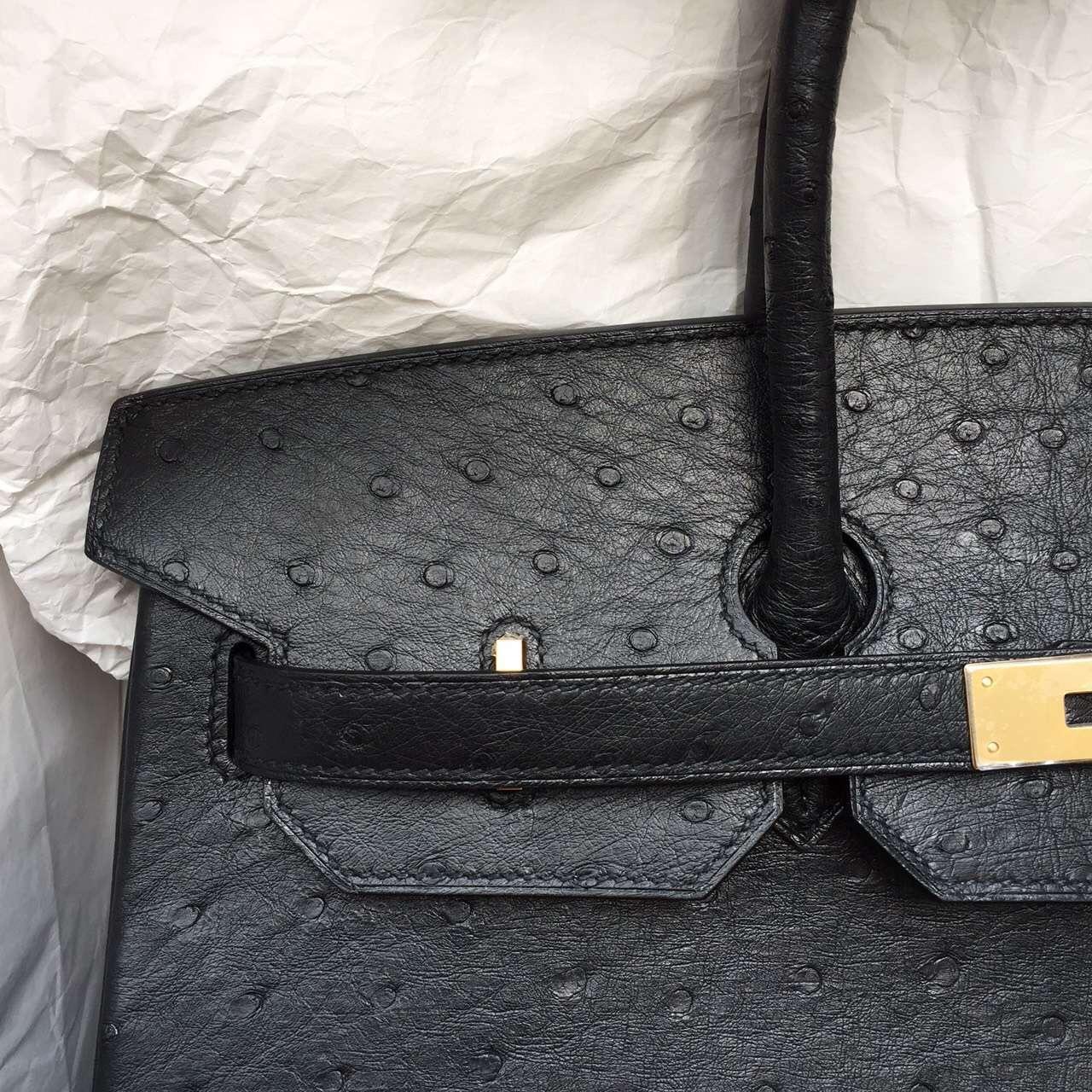 Online Store Hermes Black Ostrich Leather Birkin Bag 35CM Gold Hardware