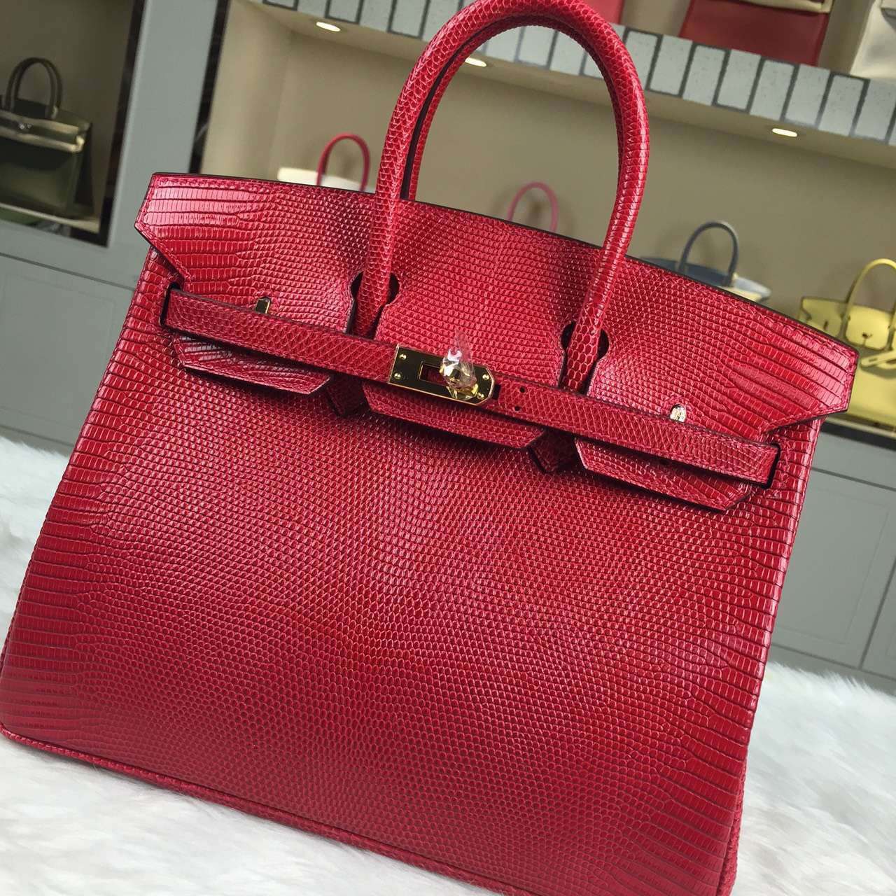 Hermes Custome-made France Lizard Skin Leather Red Birkin Bag25cm Gold Hardware