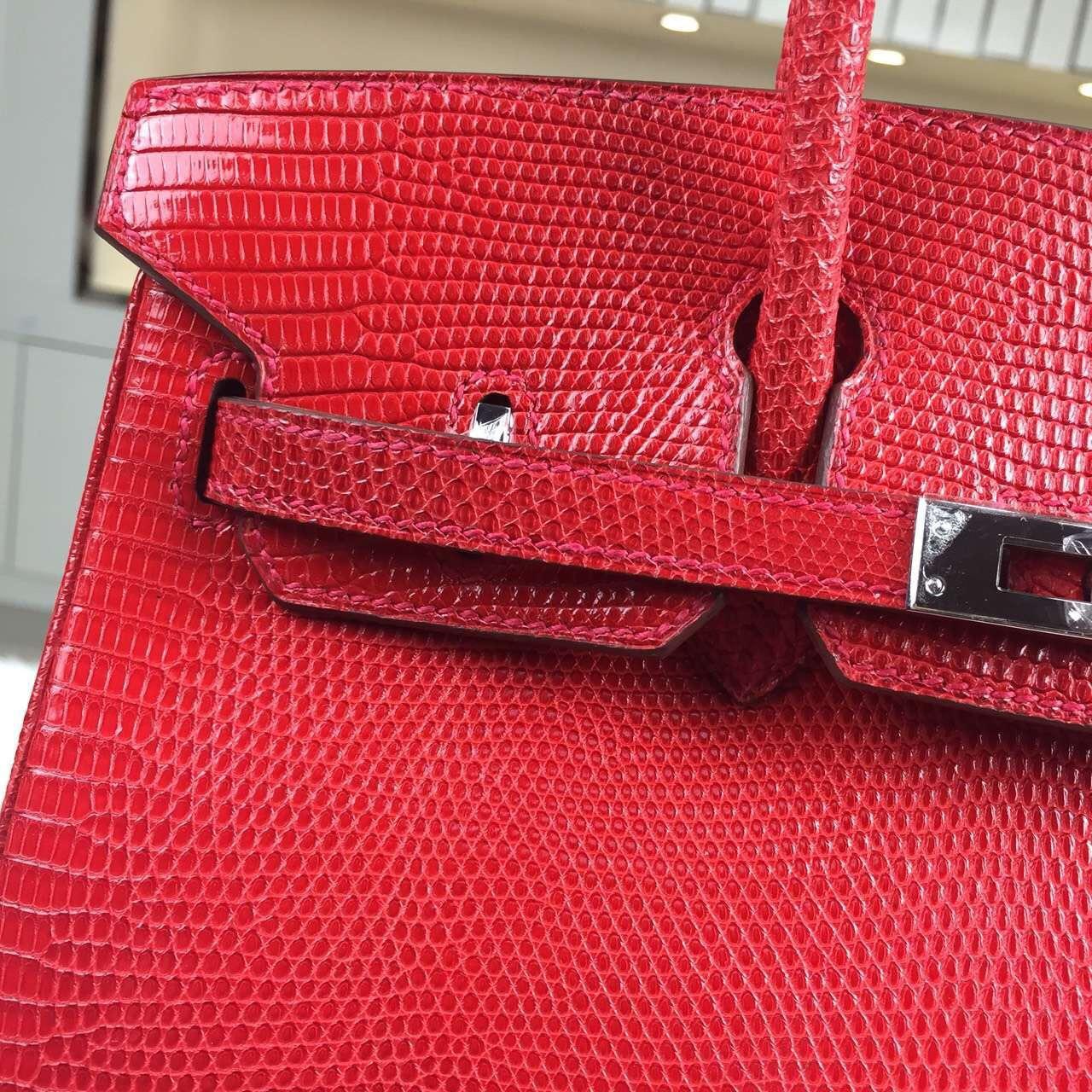 Hand Stitching Hermes Birkin Bag25cm Red HCP Lizard Skin Leather Women's Tote Bag