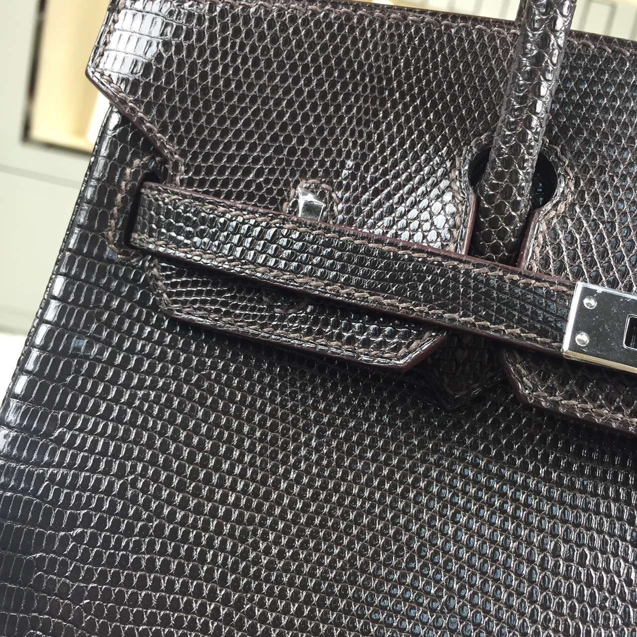 Online Shopping Hermes Dark Coffee Lizard Skin Leather Birkin Bag25cm