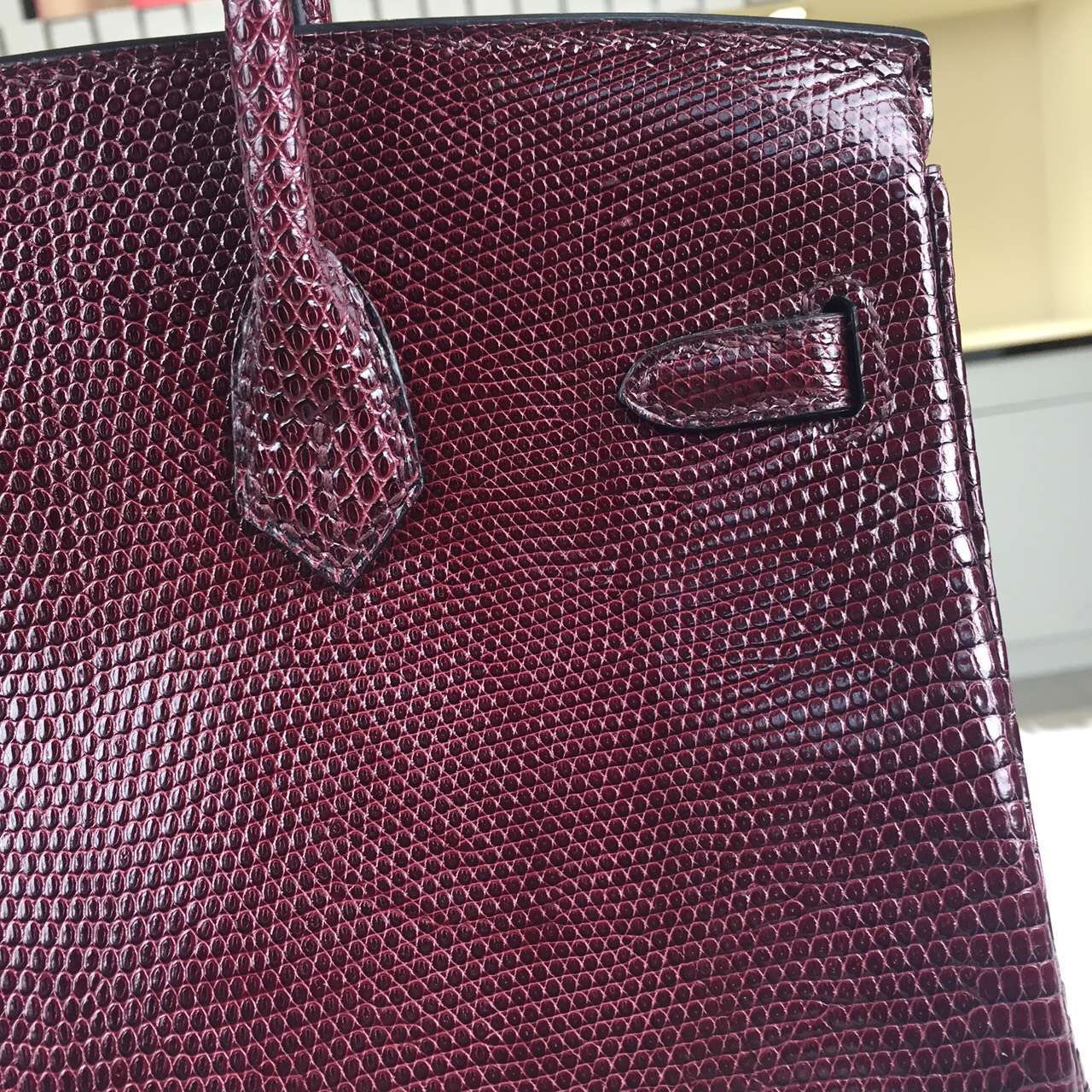 High Quality Hermes Birkin25cm Bordeaux Lizard Skin Leather Gold Hardware