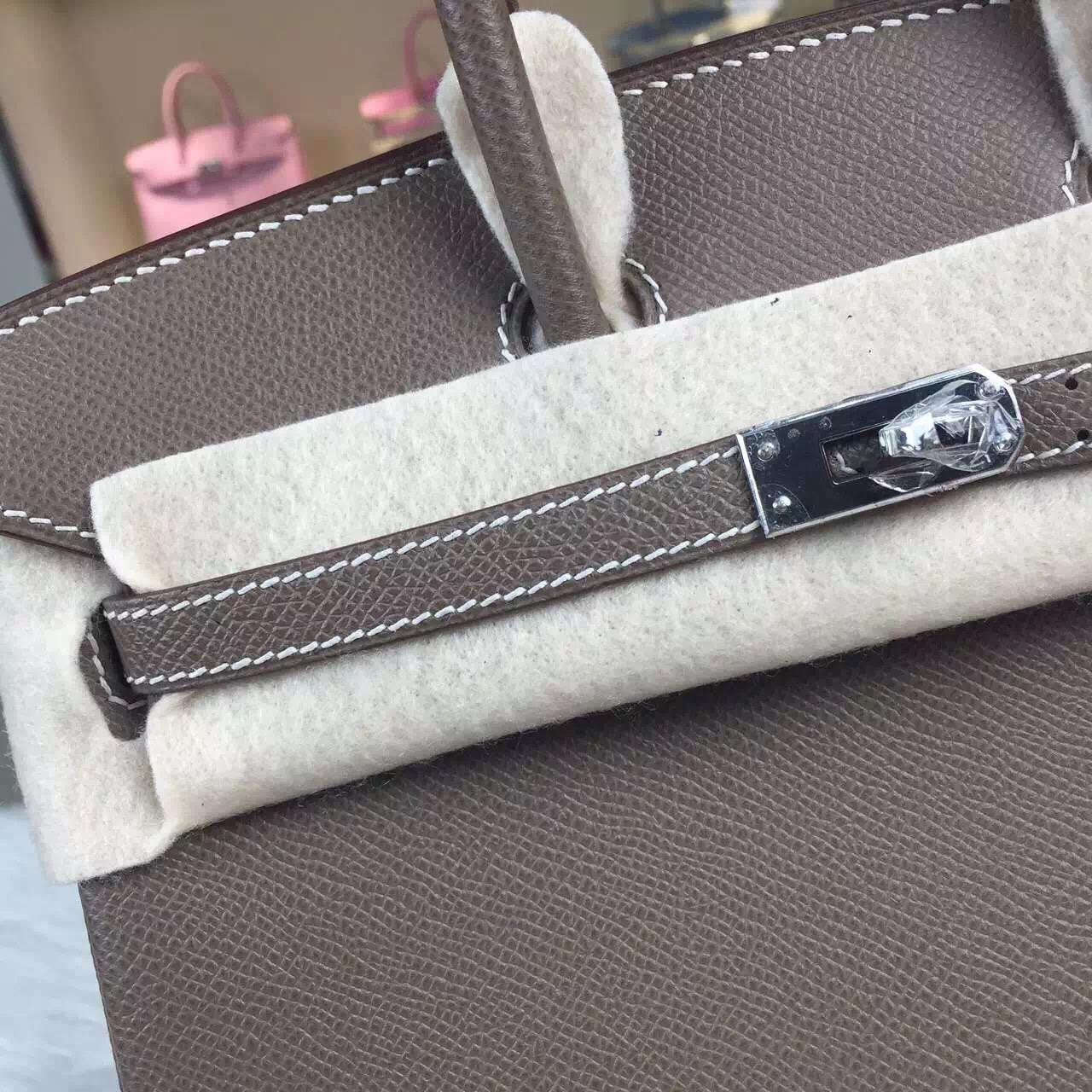 Discount Hermes C81 Etoupe Grey Epsom Calfskin Leather Birkin Bag25cm Silver Hardware