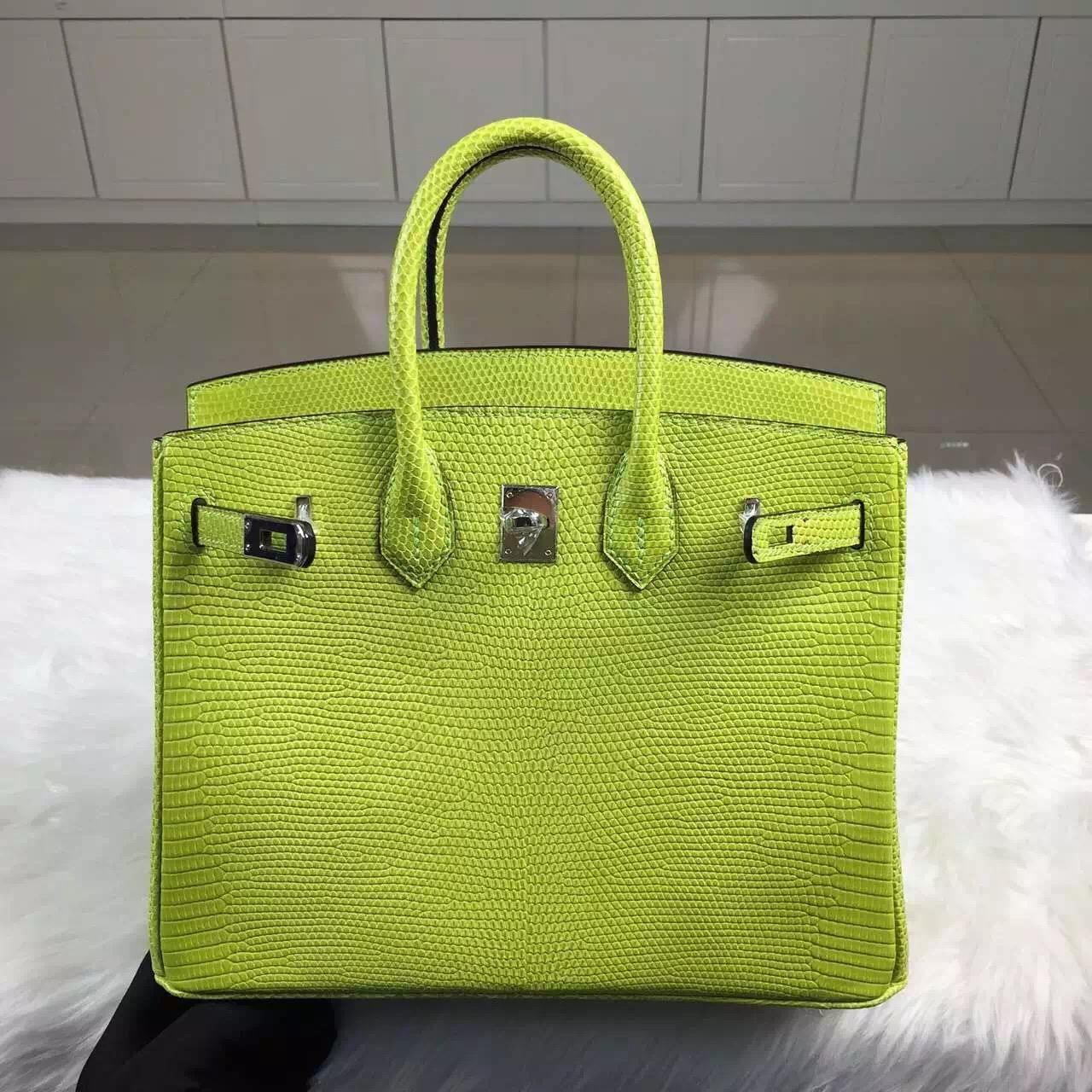 High Quality Hermes 6R Kiwi Green Lizard Skin Leather Birkin Bag25cm Silver Hardware