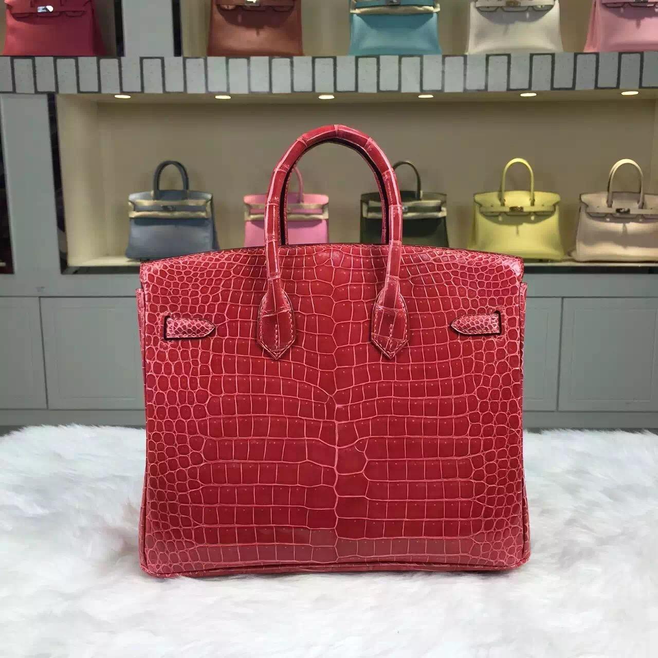 Customised Hermes 5L Prawn Pink Crocodile Shiny Leather Birkin Bag25cm Gold Hardware