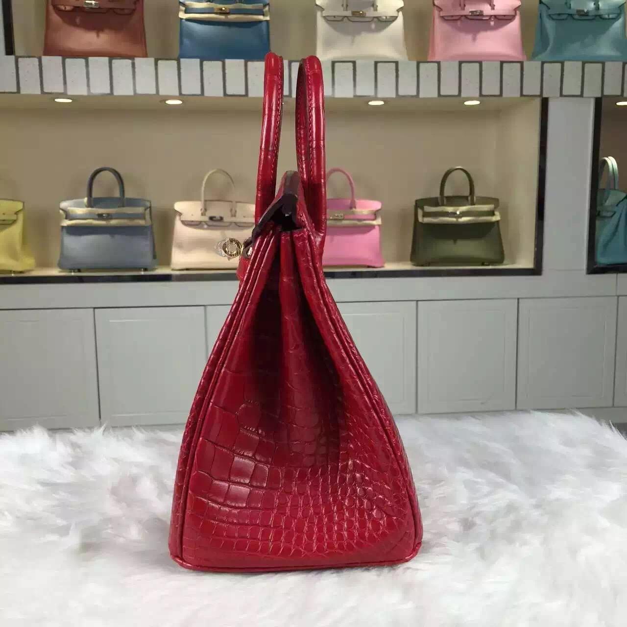 High Quality Hermes Red HCP Crocodile Matt Leather Birkin Bag25cm Gold Hardware