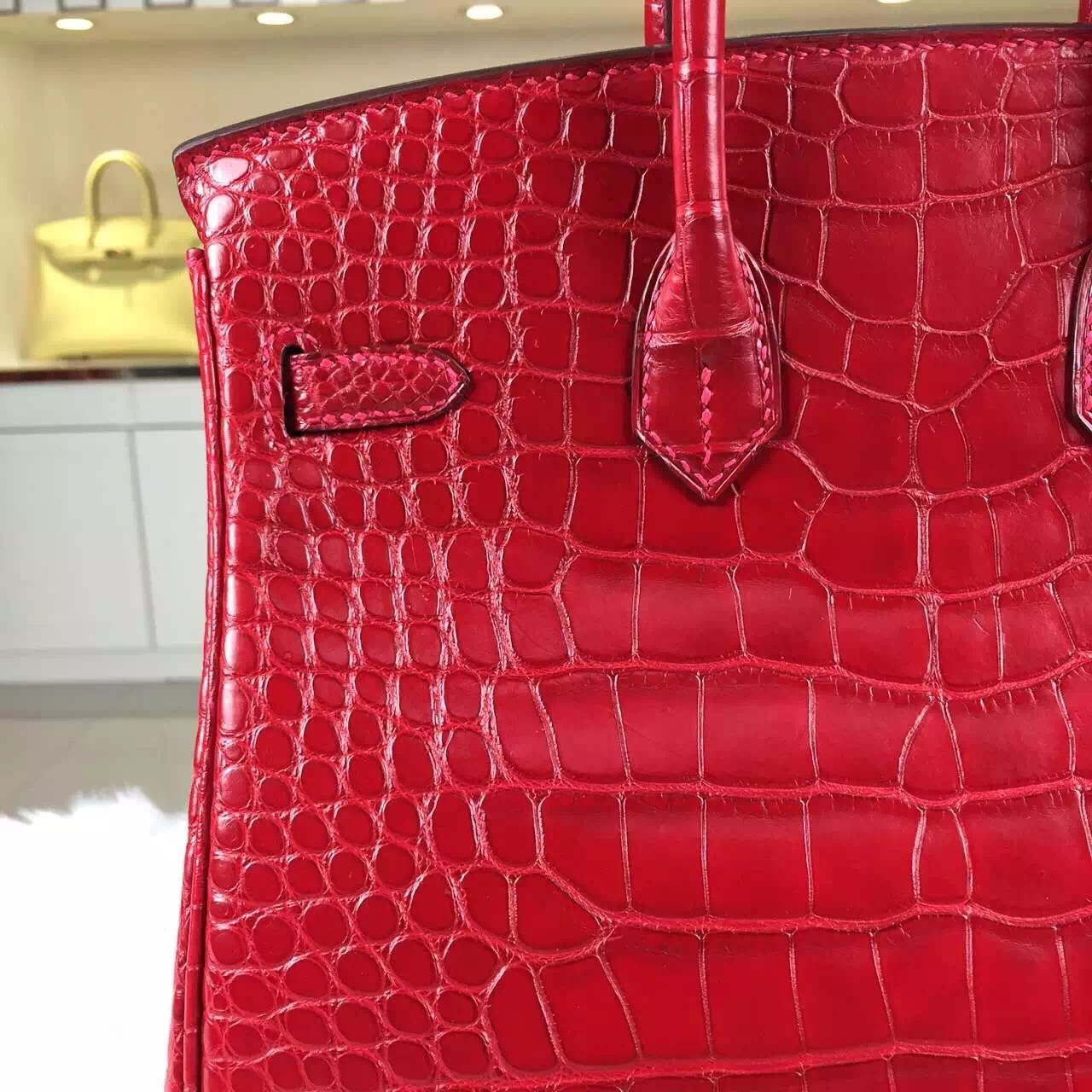 High Quality Hermes Red HCP Crocodile Matt Leather Birkin Bag25cm Gold Hardware