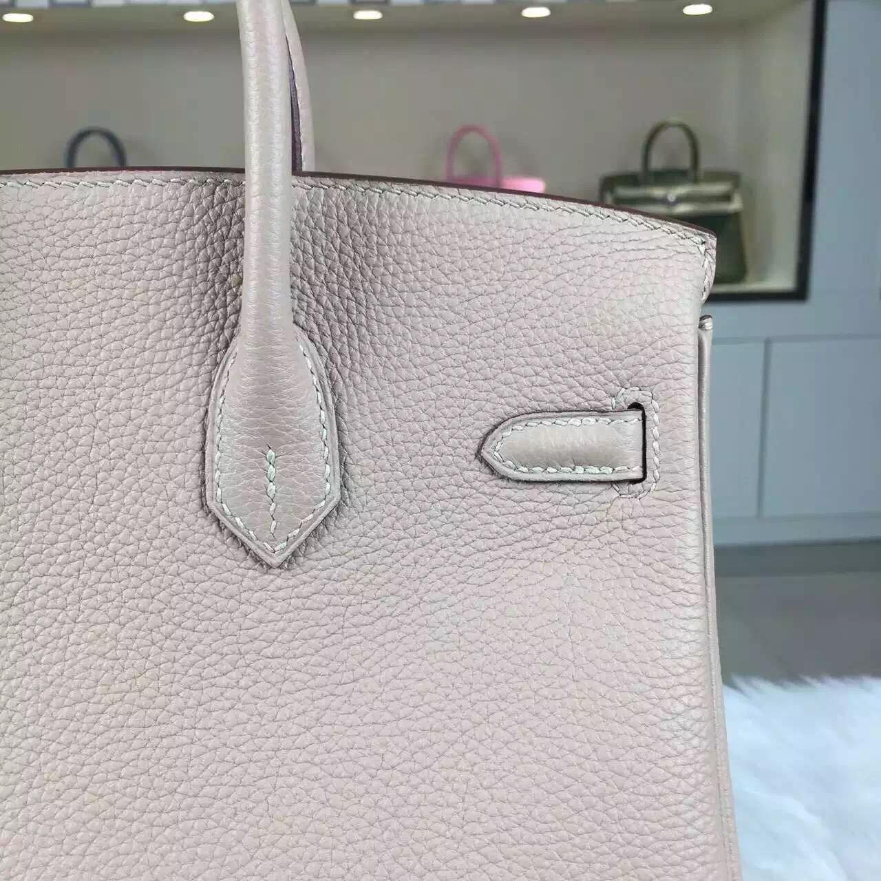 Luxury Hermes Birkin25 1F Diamond Grey Togo Calfskin Leather Women's Tote