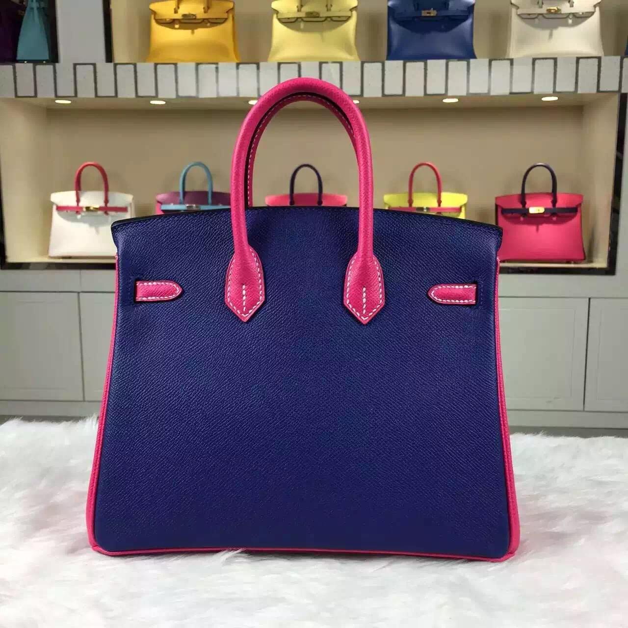 Hermes Color-blocking France Epsom Leather Birkin25cm Women's Tote Bag