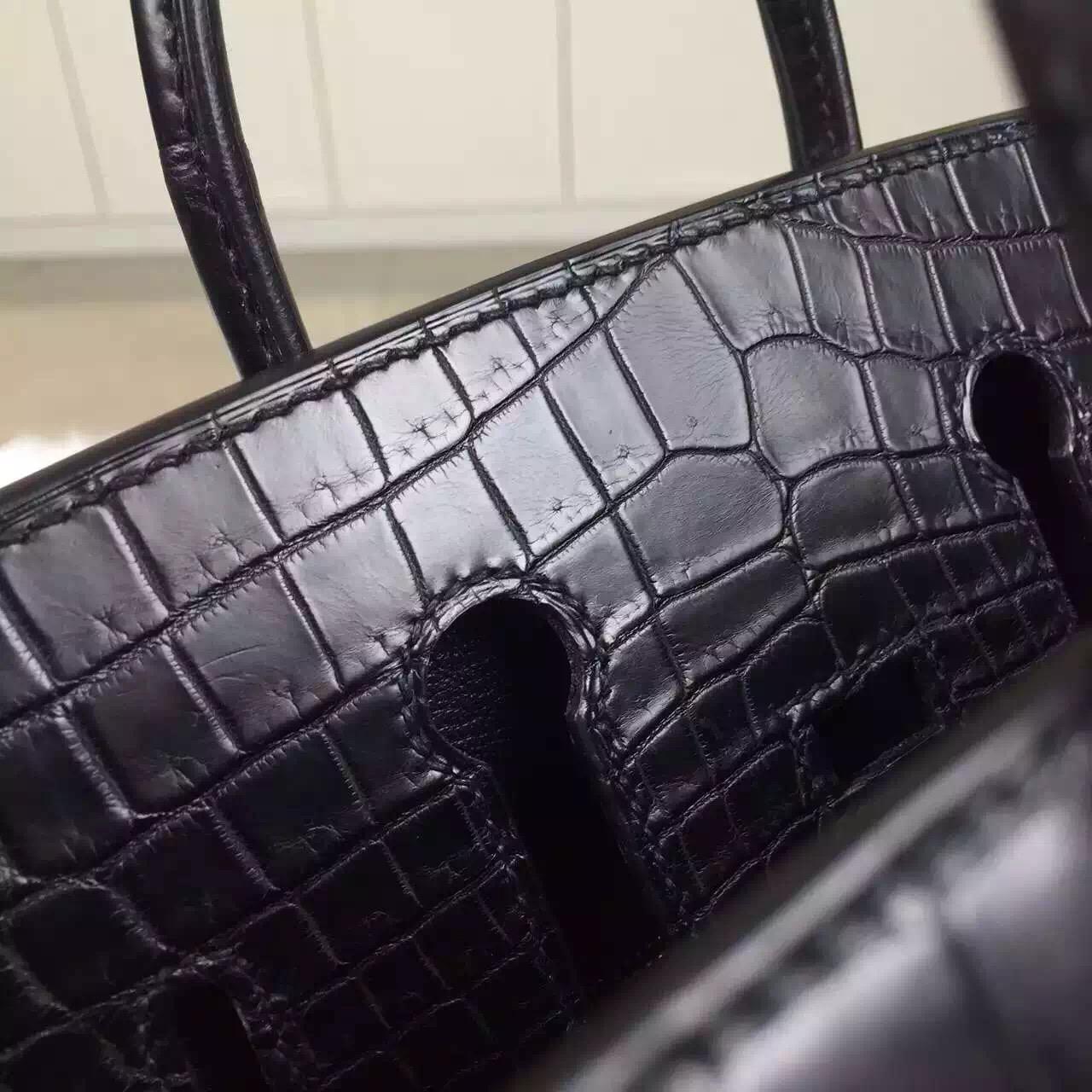 Discount Hermes Black Crocodile Matt Leather Birkin25 Gold Hardware