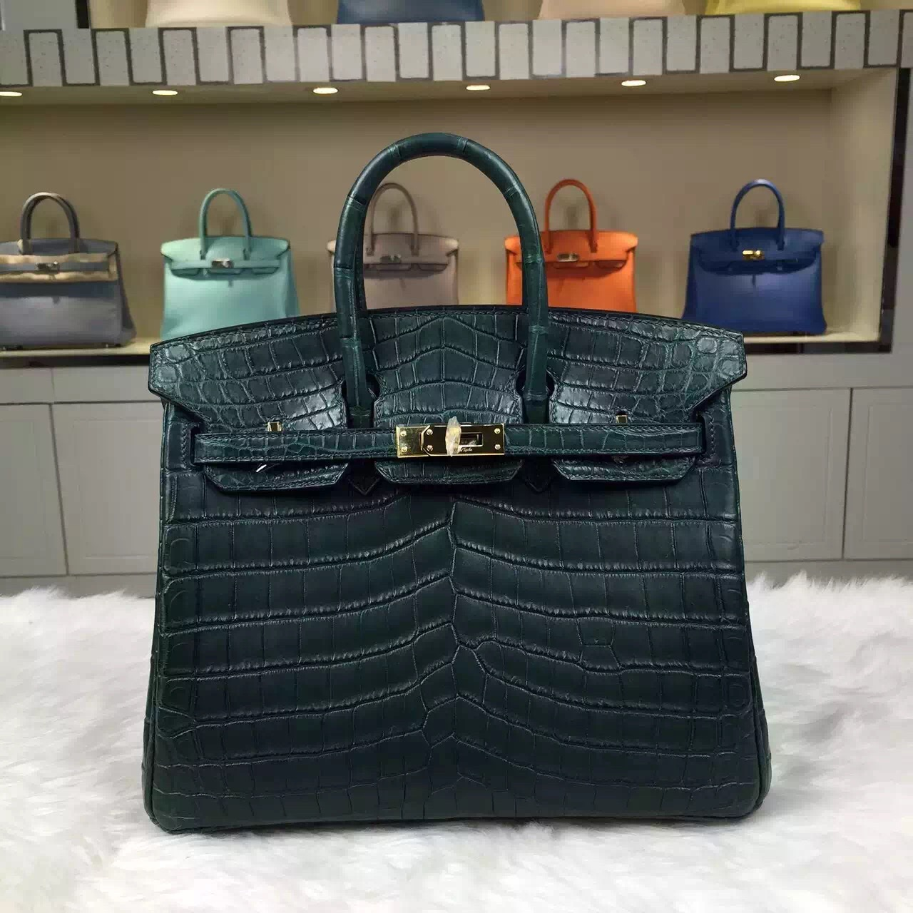 Luxury Women's Bag Hermes 1T Vert Tipien Crocodile Matt Leather Birkin25
