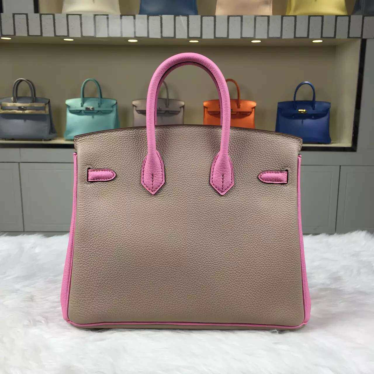 Discount Hermes 1P Diamond Grey & 5P Rose Sakura Togo Leather Birkin25