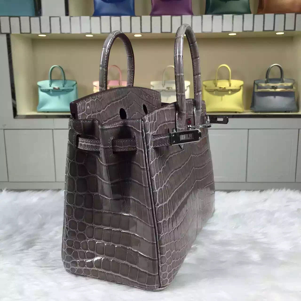 Hot Sale Hermes Etoupe Grey HCP Crocodile Shiny Leather Birkin25
