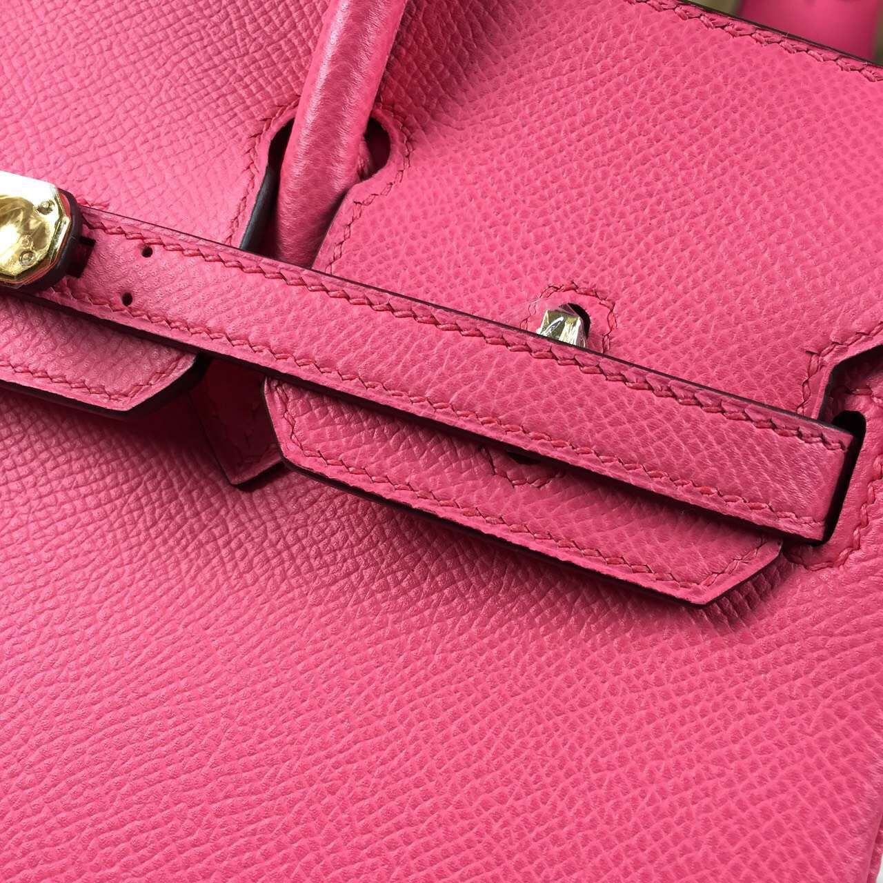 Hand Stitching Hermes 8W Rose Azalee Epsom Leather Birkin Bag25cm