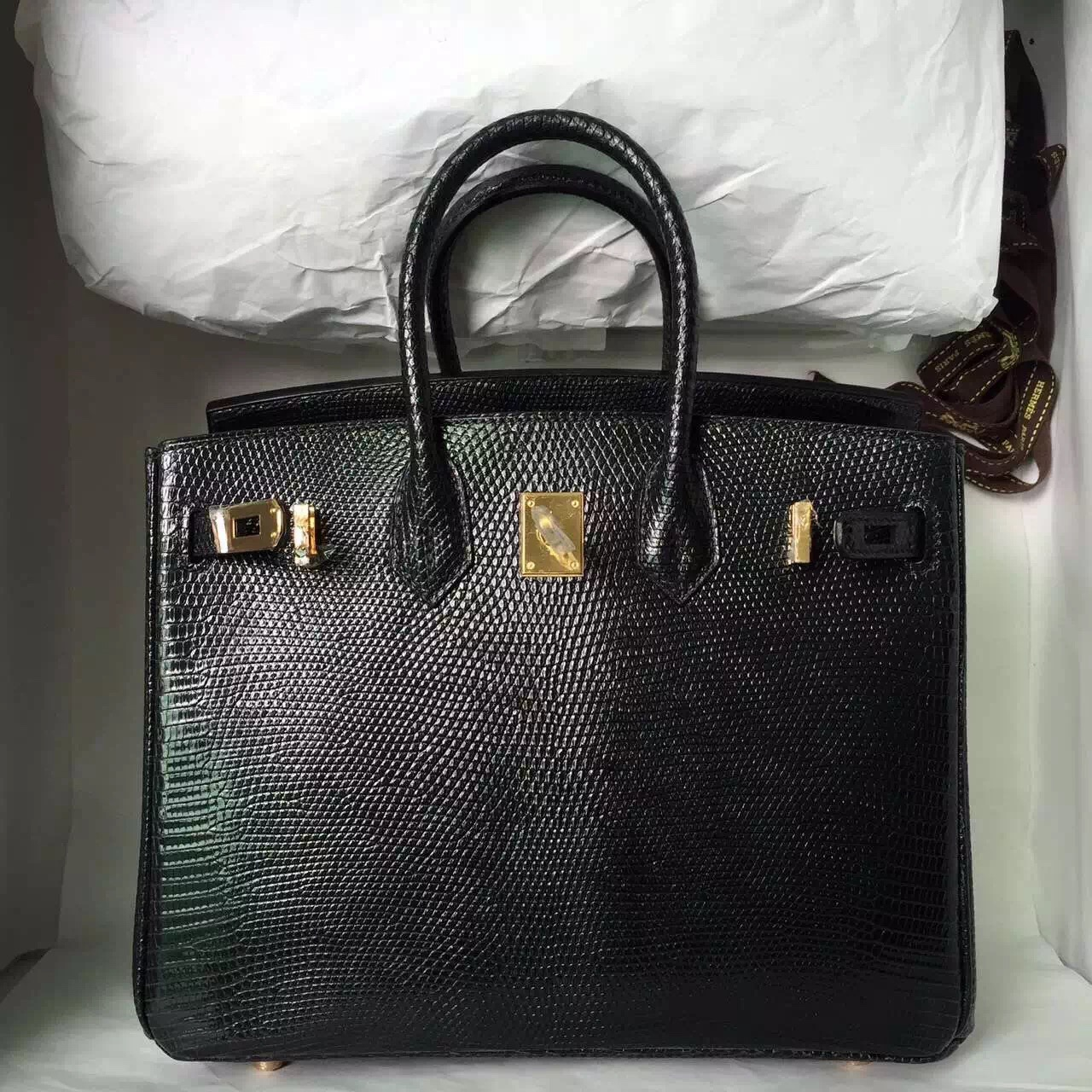 Wholesale Hermes Lizard Leather Birkin25 in CK89 Black