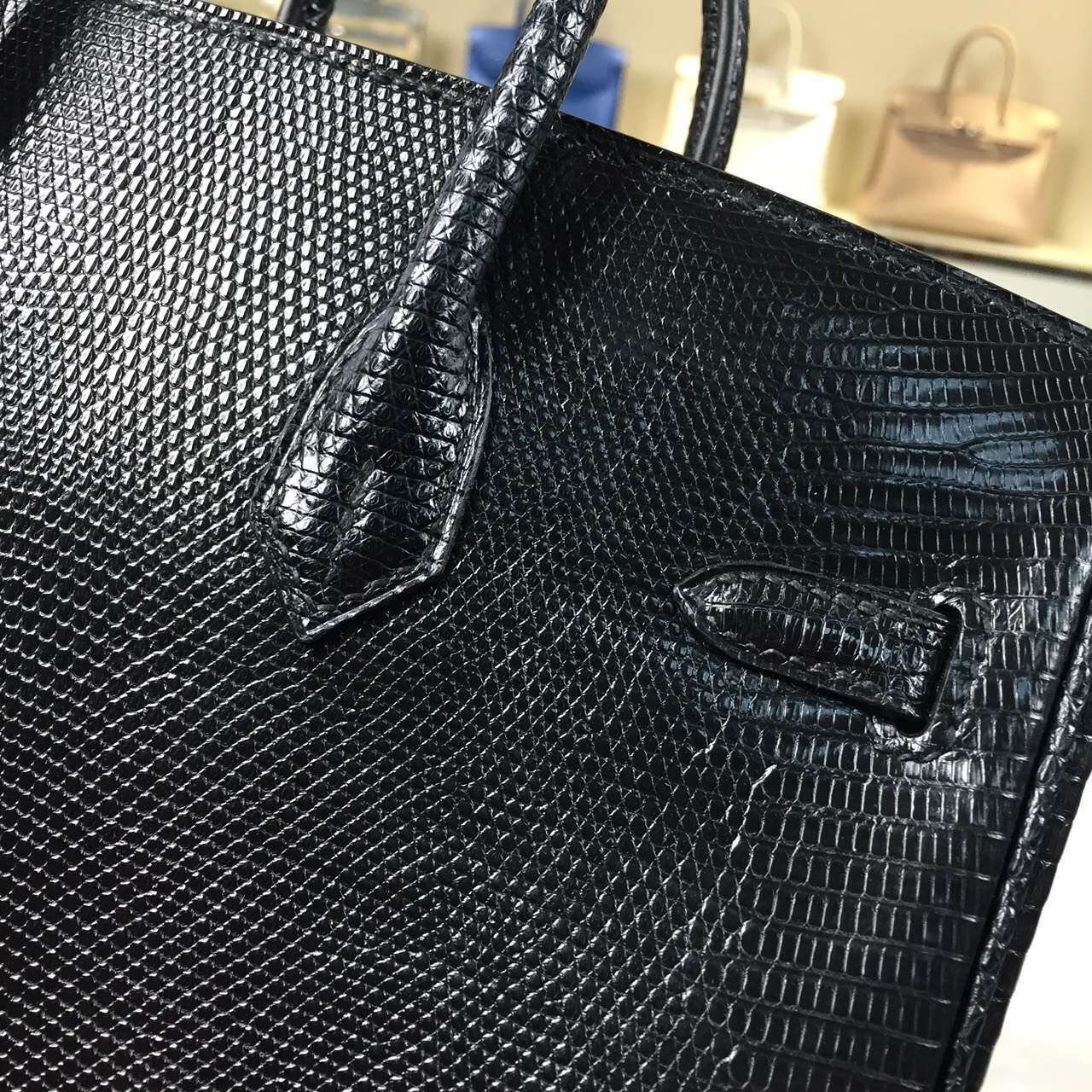 Discount Hermes CK89 Black Lizard Skin Leather Birkin Bag25cm