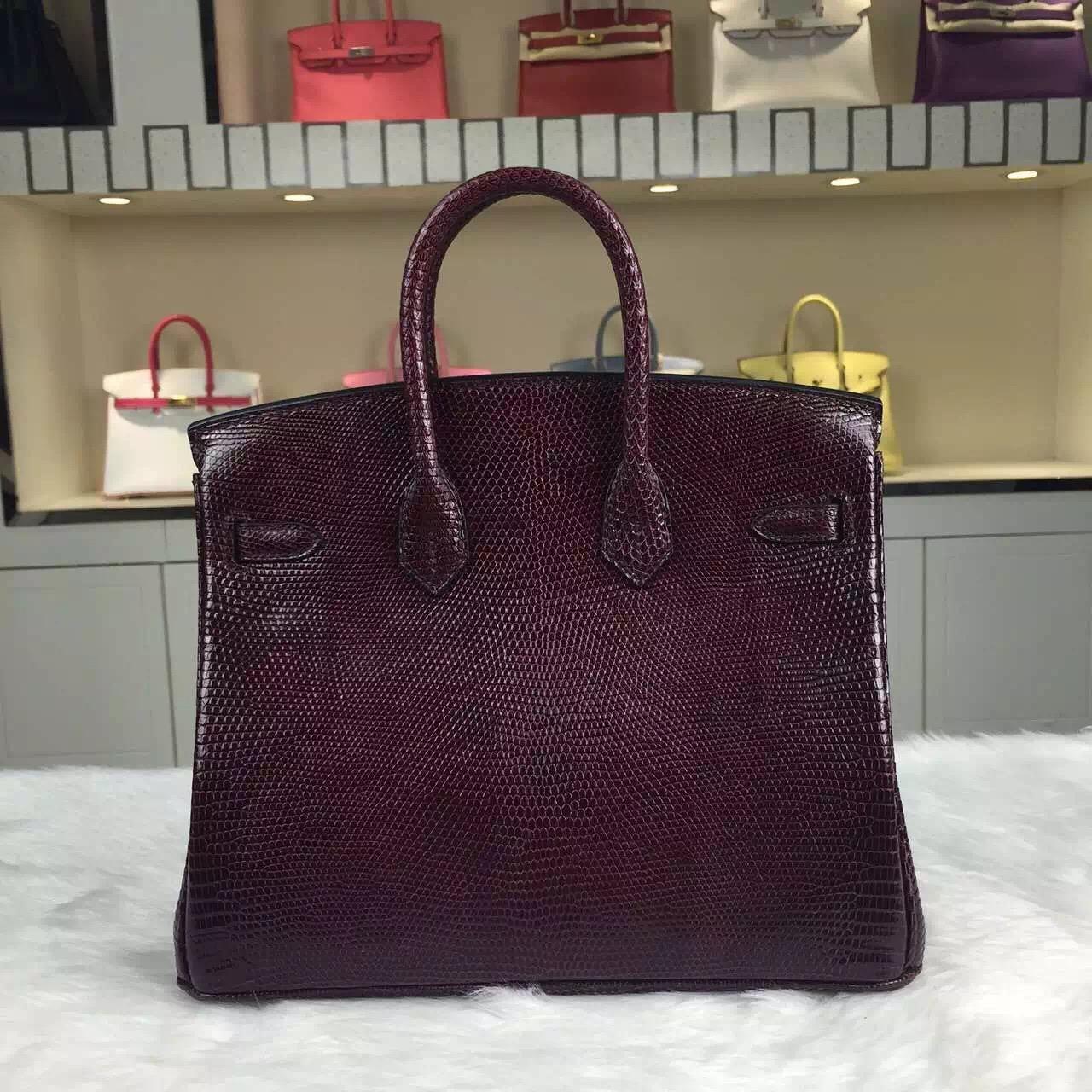 Wholesale Hermes Lizard Skin Leather Birkin25cm CK57 Bordeaux Red