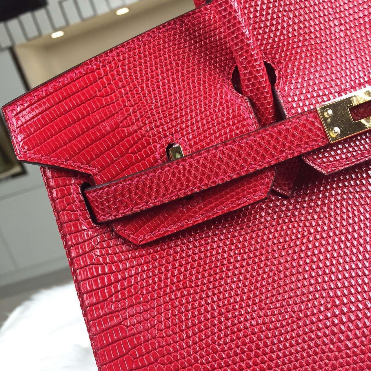Hand Stitching Hermes Ferrari Red Lizard Skin Birkin25 Gold Hardware