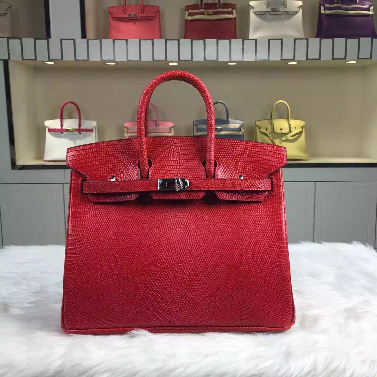 Fashion Hermes Q5 Rouge Casaque Shiny Lizard Leather Birkin Bag25cm