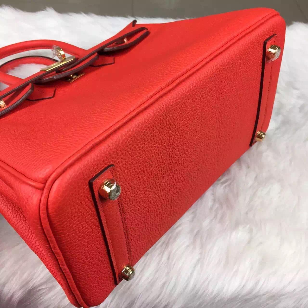 New Pretty Hermes German Calfskin Leather Birkin Bag25cm Flame Red