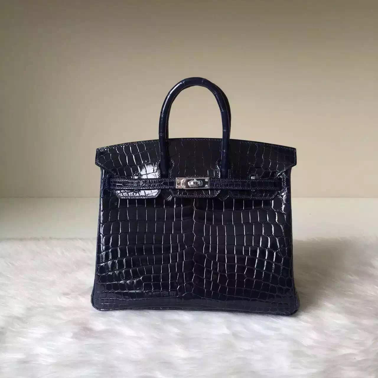 Discount Hermes Birkin25 Bag 7K Dark Blue Shiny Crocodile Leather