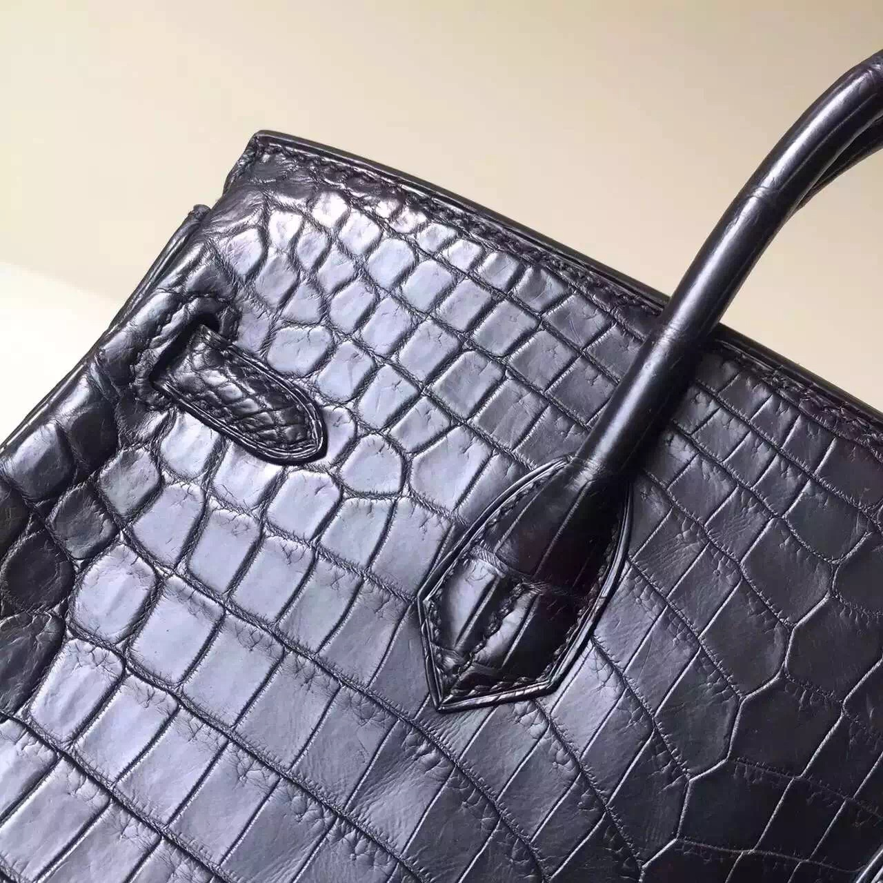 Hand Stitching Hermes CK89 Black Crocodile Matt Leather Birkin25 Bag