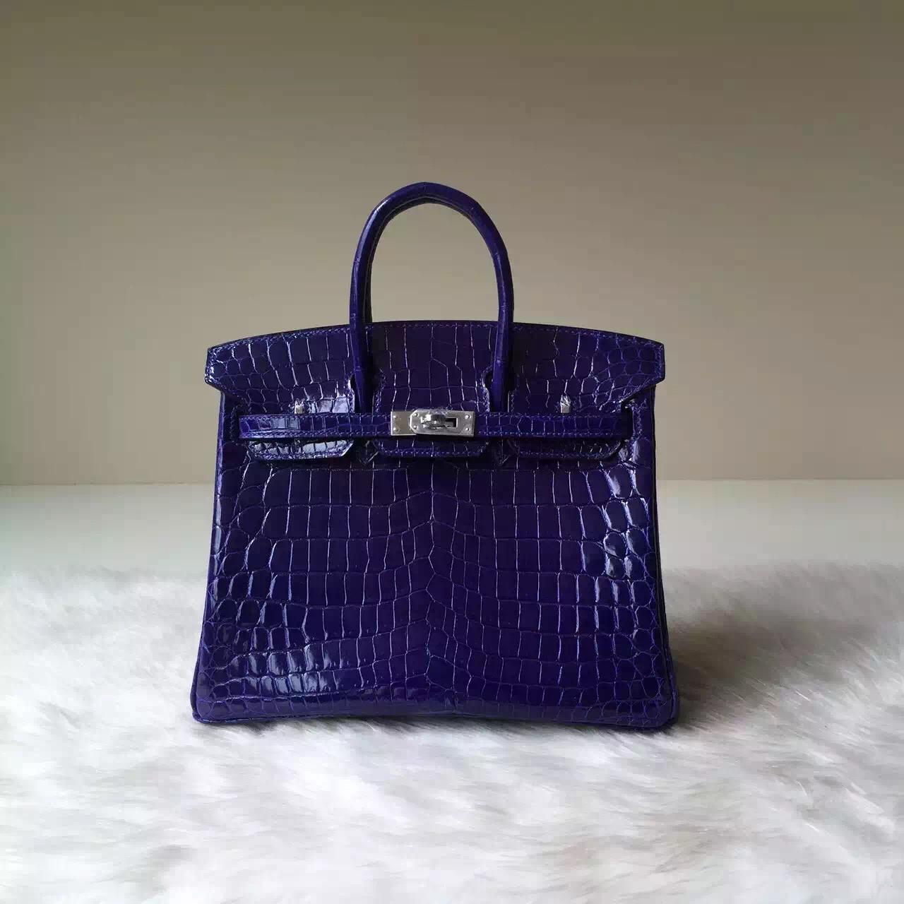 Hermes Bag Website 7T Blue Electric Crocodile Shiny Leather Birkin 25cm