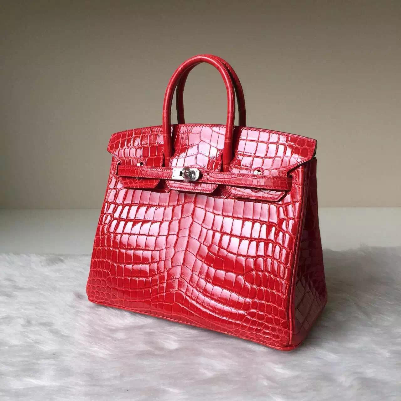 Wholesale Hermes Crocodile Shiny Leather Birkin Bag 25cm in CK95 Ferrari Red