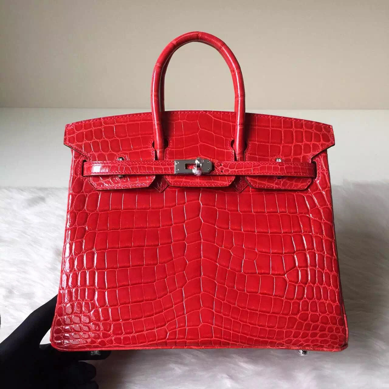 Wholesale Hermes Crocodile Shiny Leather Birkin Bag 25cm in CK95 Ferrari Red
