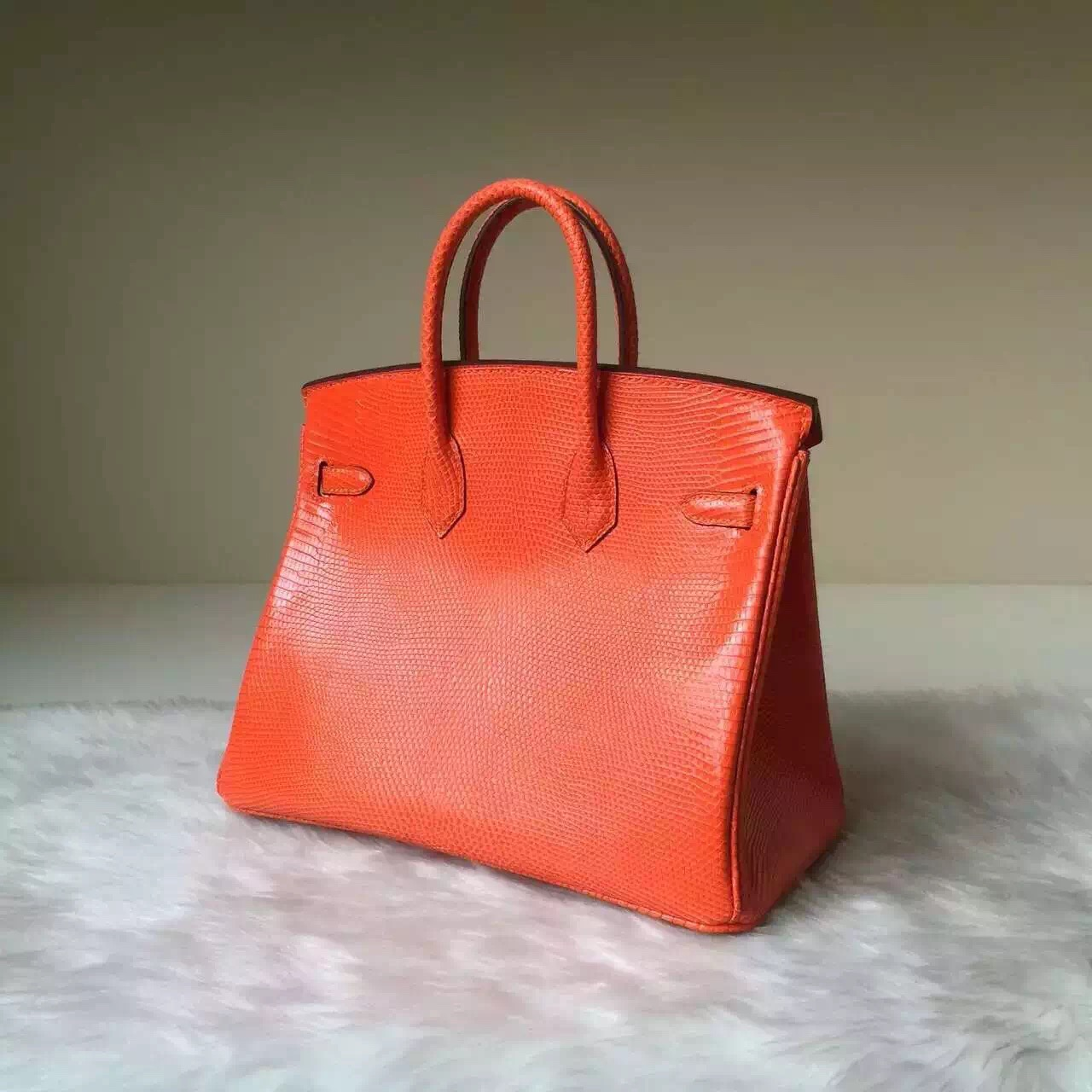 Sale Hermes Bag Orange Lizard Leather Birkin25CM Silver Hardware