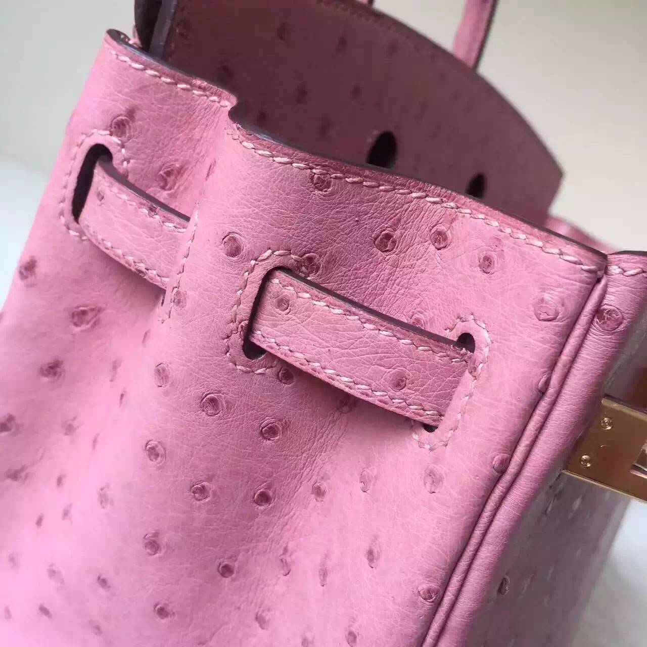 New Pretty Hermes CC94 Terre Cuite Ostrich Leather Birkin Bag 25cm