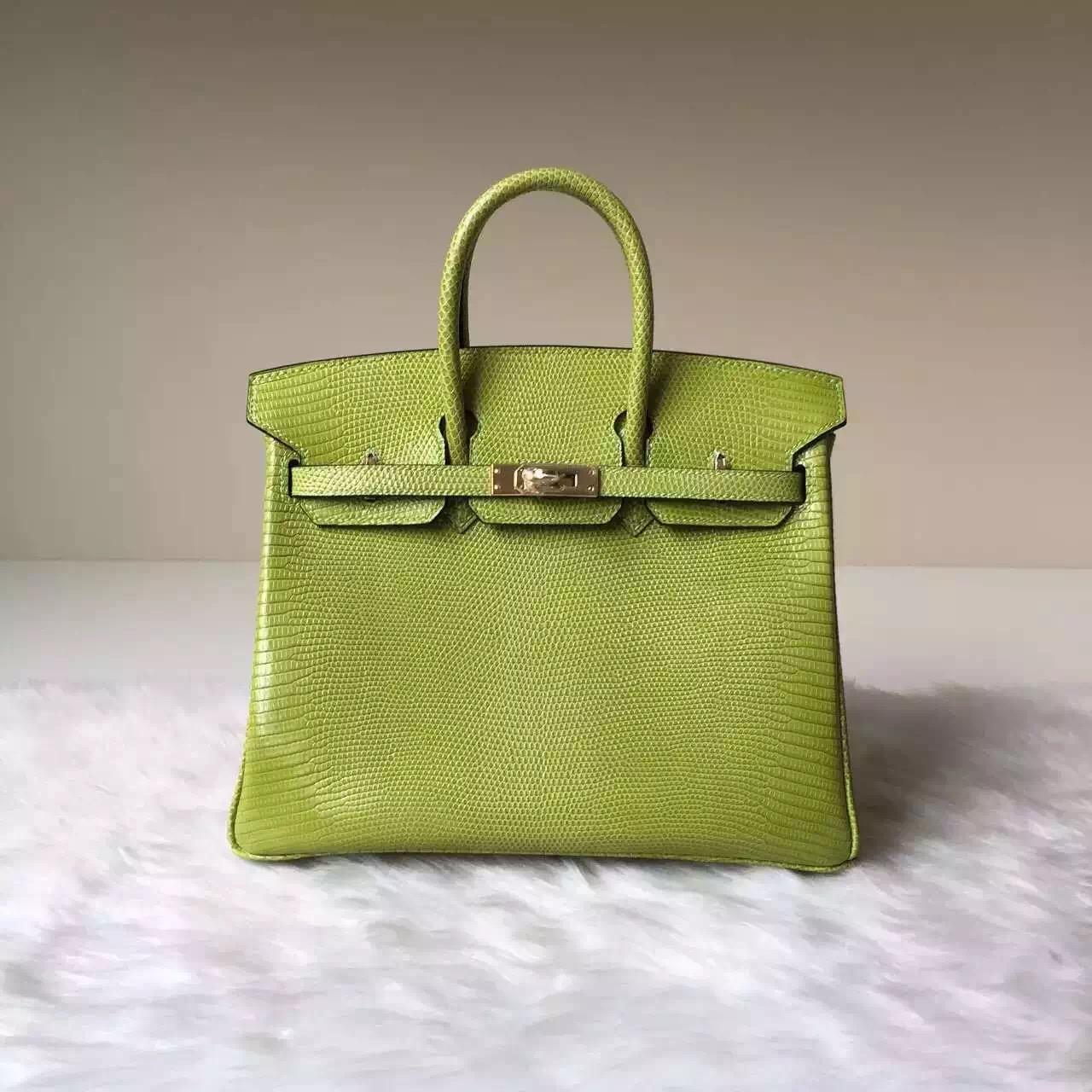 New Hermes 6R Kiwi Color Shiny Lizard Leather Birkin Bag25cm