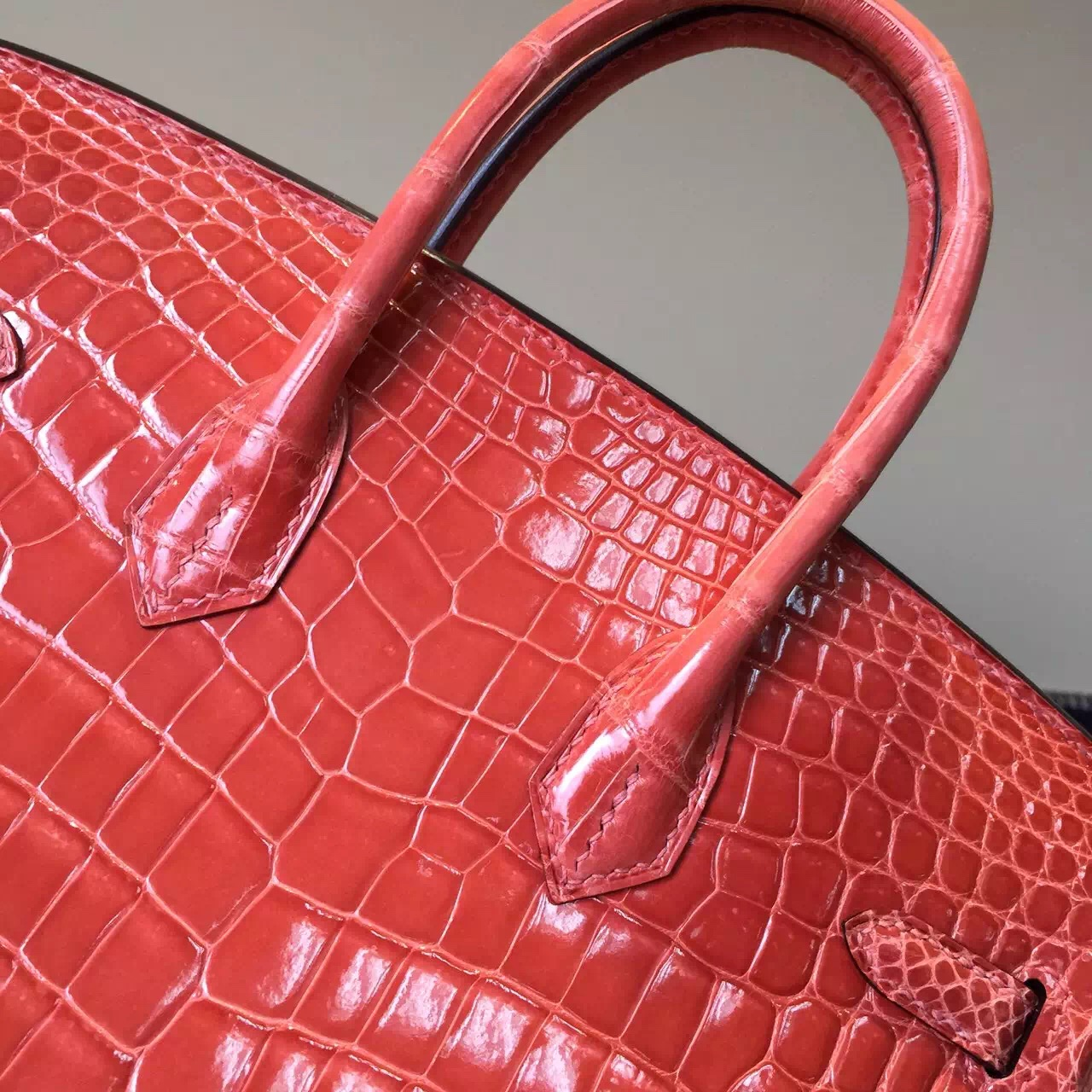 Hand Stitching Hermes L5 Crevette Color Crocodile Shiny Leather Birkin25cm