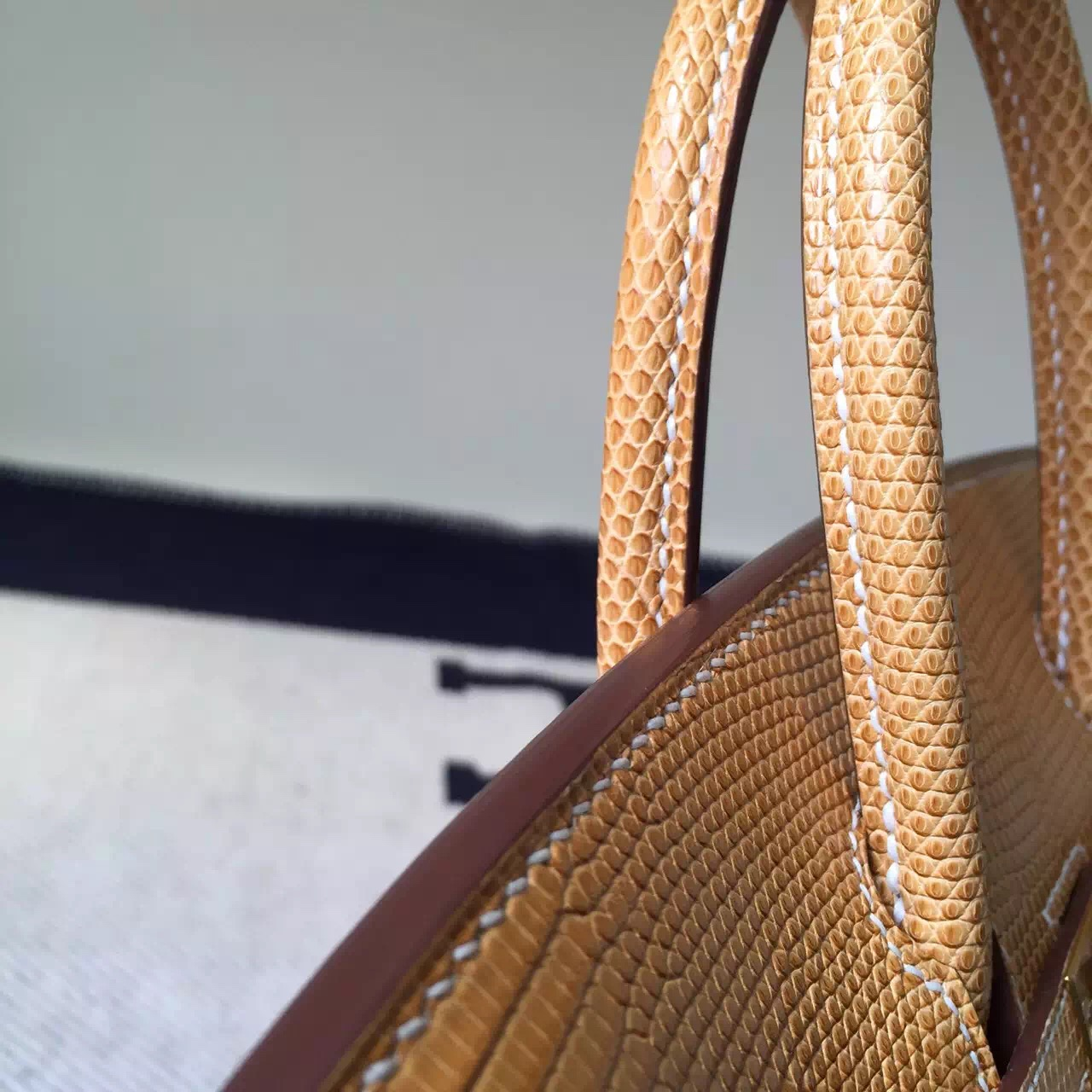 Hand Stitching Hermes 1G Mais Shiny Lizard Leather Birkin Bag 25cm