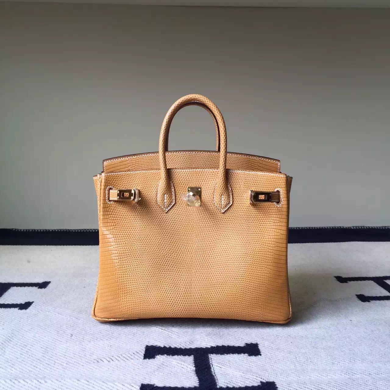 Hand Stitching Hermes 1G Mais Shiny Lizard Leather Birkin Bag 25cm