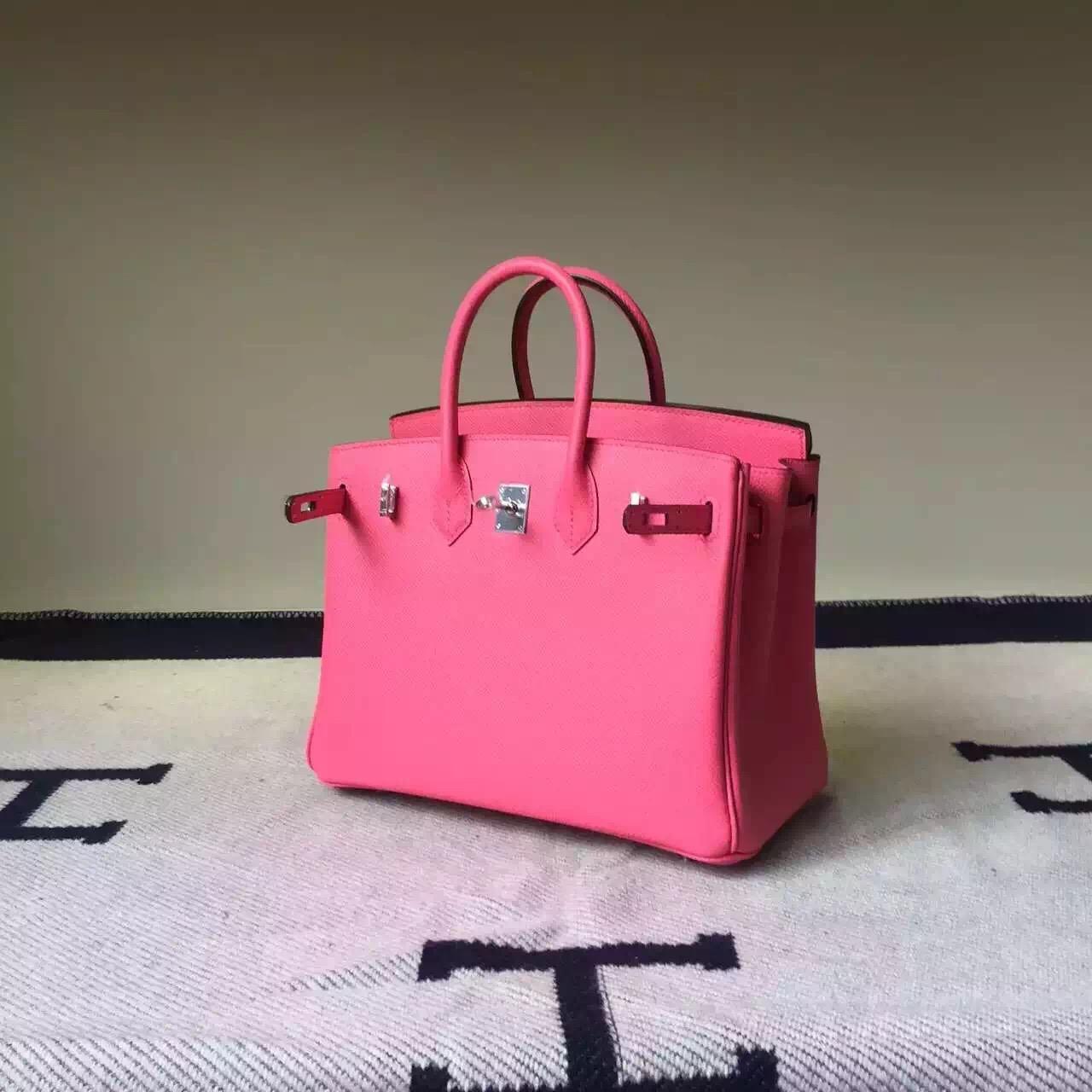 New Fashion Hermes Birkin Bag 25cm 8W Rose Azalee Epsom Leather
