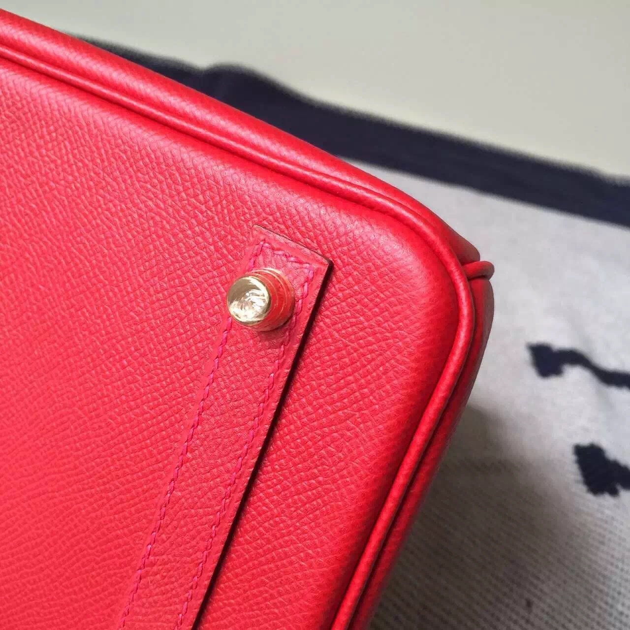 New Pretty Hermes Q5 Rouge Casaque Epsom Leather Birkin25cm Bag