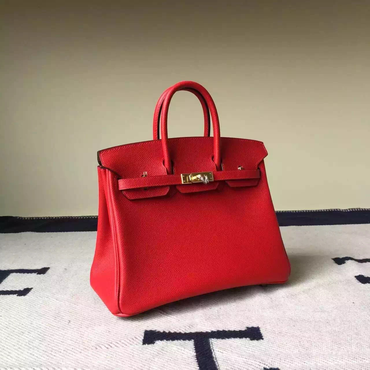 New Pretty Hermes Q5 Rouge Casaque Epsom Leather Birkin25cm Bag