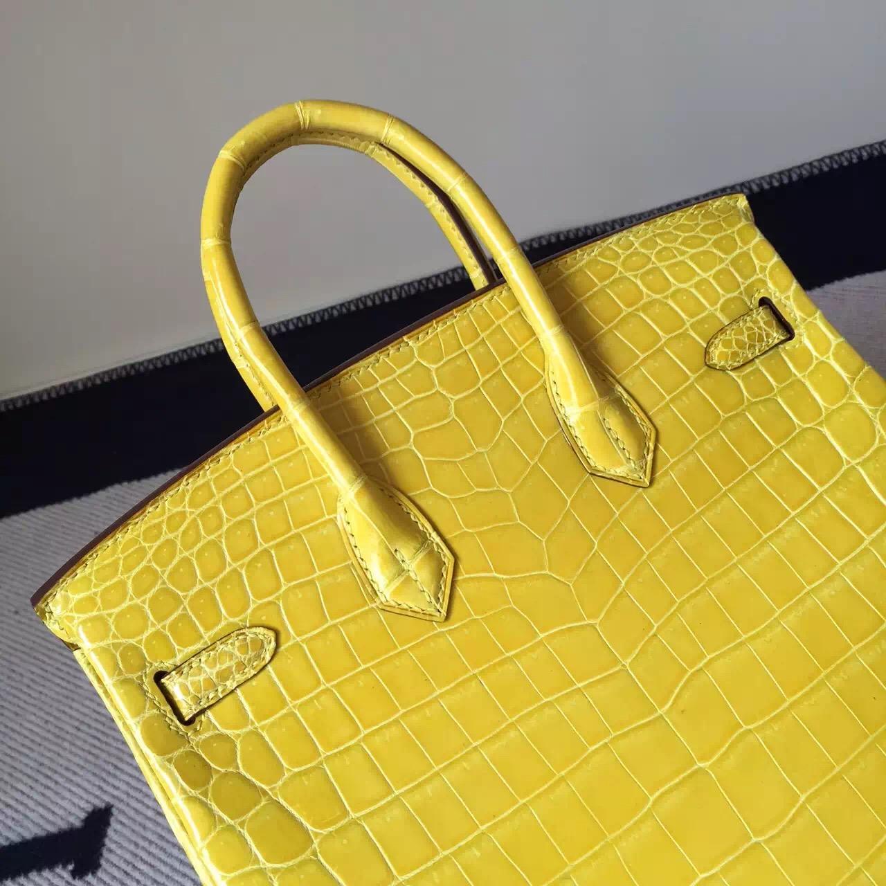 Sale Hermes M9 Lemone Yellow Crocodile Shiny Leather Birkin25cm Bag