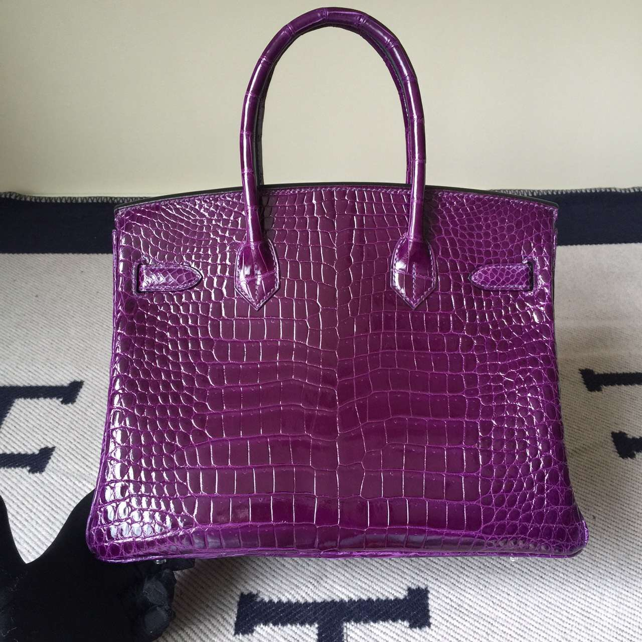 Discount Hermes 9G Violet Crocodile Leather Bikrin Bag 25cm Silver Hardware