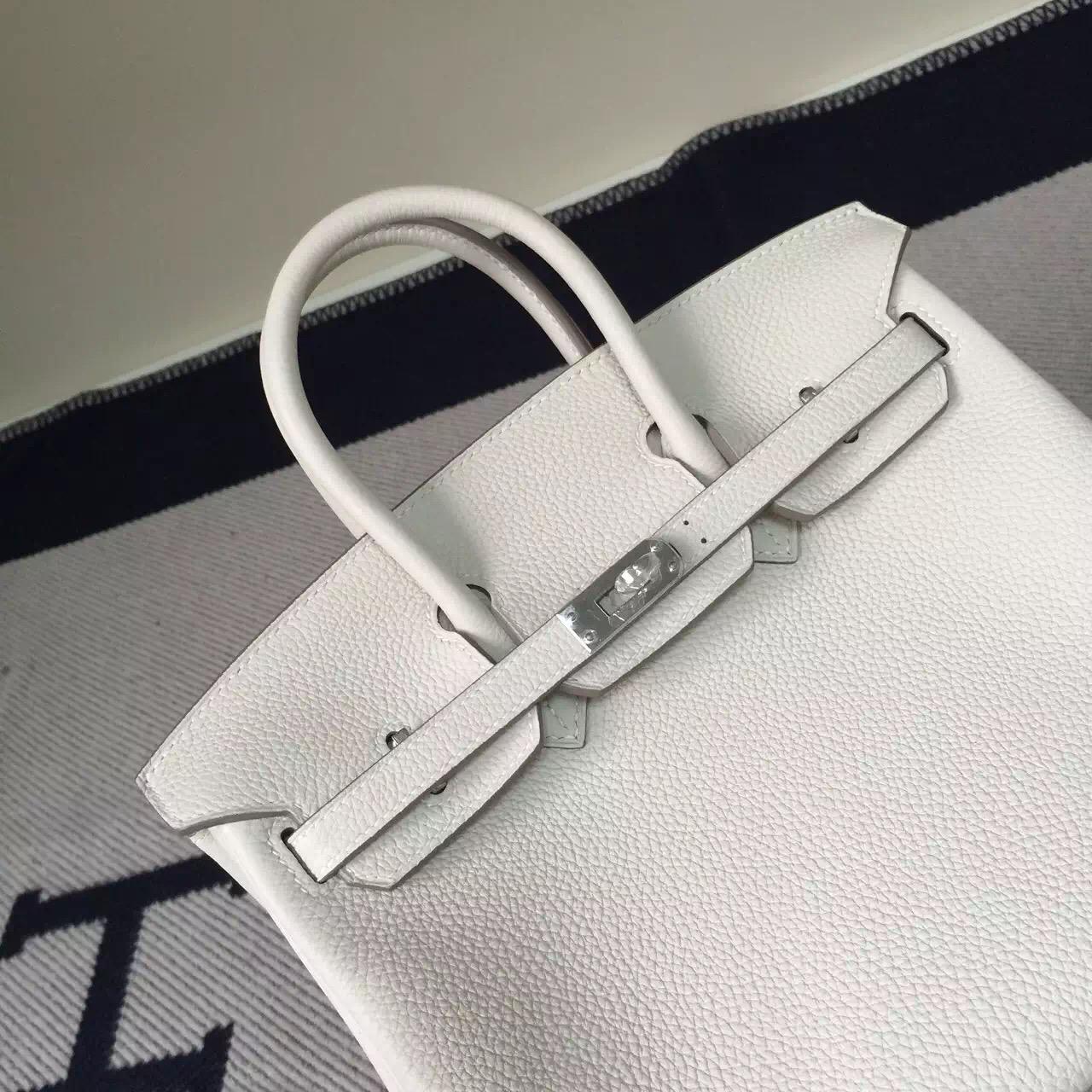 New Women's Bag Hermes Togo Leather Birkin Bag 25cm in CK10 Milk White