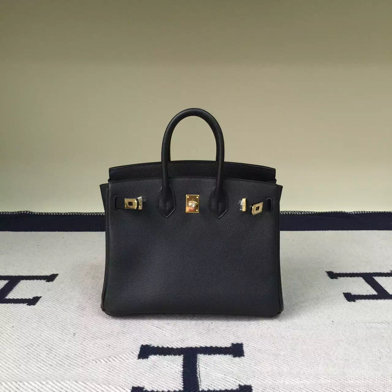 Hermes Classic Bag CK89 Black Epsom Leather Birkin25cm Bag